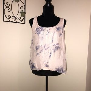 Light pink & blue flowers flowy tank top
